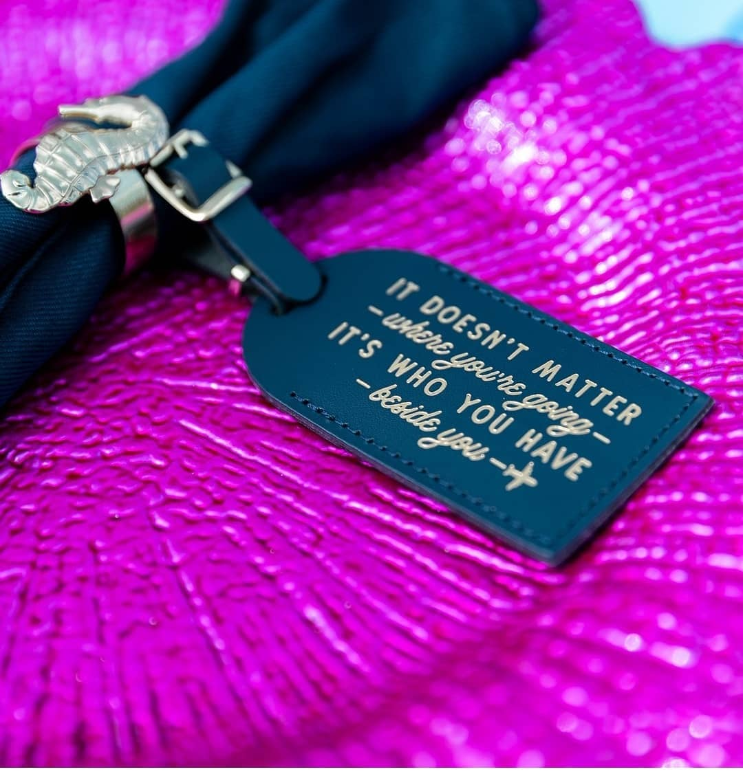 Words of wisdom...photo by @crownimagesvi seahorse napkin ring and fuchsia charger plate @virginislandsweddingrental