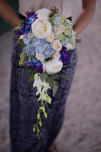 beach wedding blue bouquet