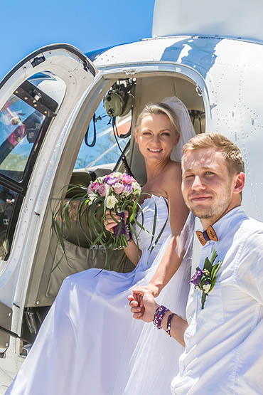 Deserted Island Elopement Helicopter Package Wedding Package